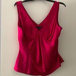 Raspberry pink silk zipper side tank